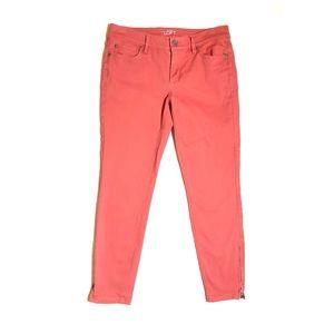 Loft Modern Skinny Ankle Zipper Coral Jeans